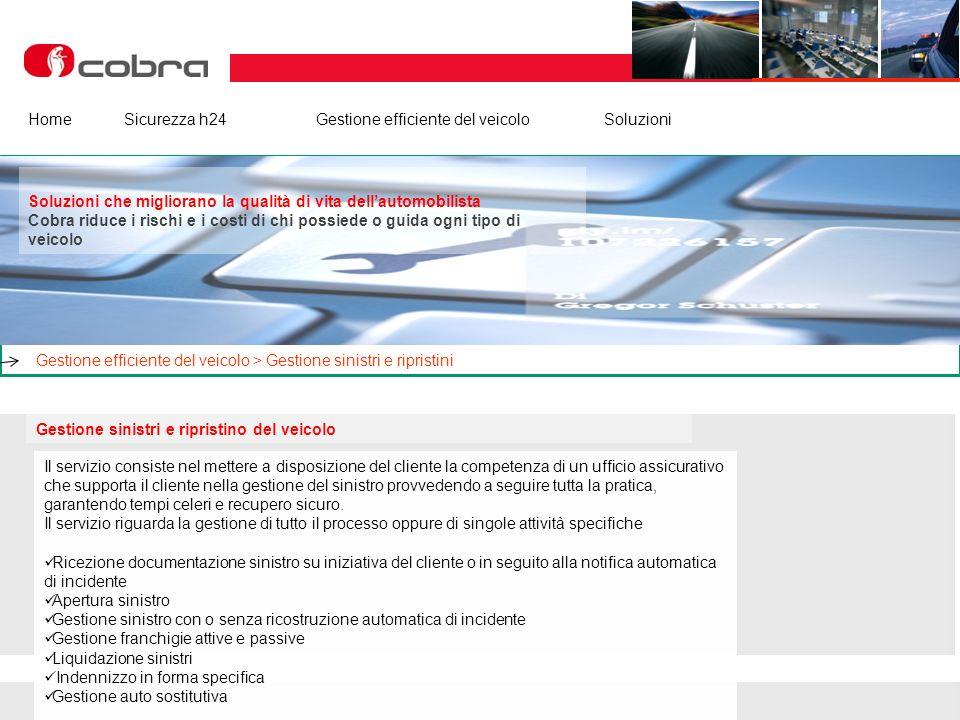 Febbraio 2013 www.cobra-at.com/it © 2013 Cobra Italia SpA All rights reserved HomeSicurezza h24Gestione efficiente del veicolo Soluzioni Gestione sini