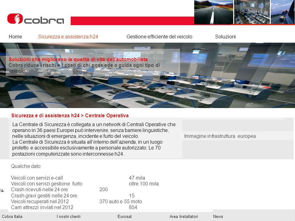 Febbraio 2013 www.cobra-at.com/it © 2013 Cobra Italia SpA All rights reserved Cobra ItaliaI nostri clientiEurosatArea InstallatoriNews Sicurezza e di