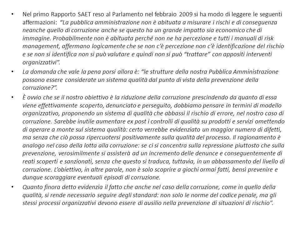 La legge n.190/2012 Il nuovo parametro introdotto dalla legge n.