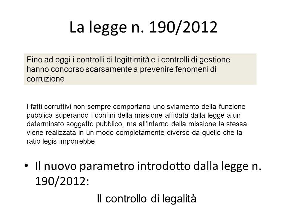 La legge n. 190/2012 Il campo dazione