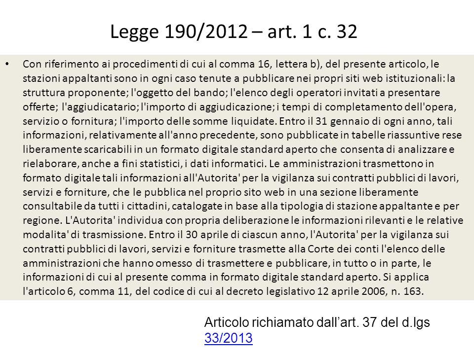 Legge 190/2012 – art.1 c. 37 Art. 1-ter.