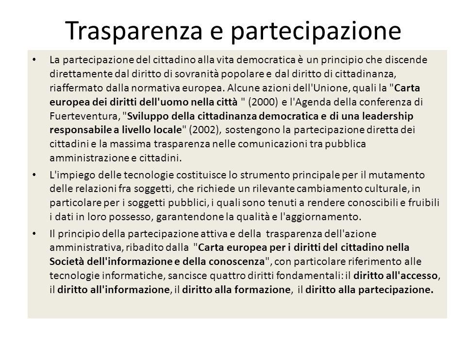 trasparenzaOpen data Open government Partecipazione attiva e collaborativa dei cittadini alle scelte amministrative, sul presupposto di unamministrazione «aperta» che renda fruibili alla collettività le informazioni di cui è in possesso