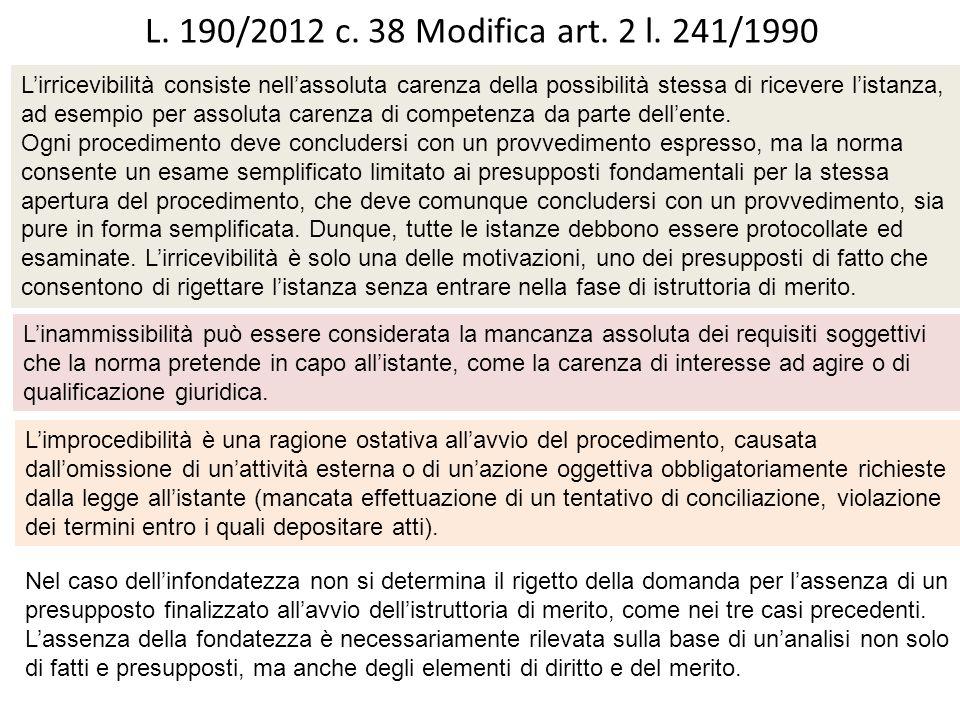 L.190/2012 c. 38 Introduzione art. 6 bis l.