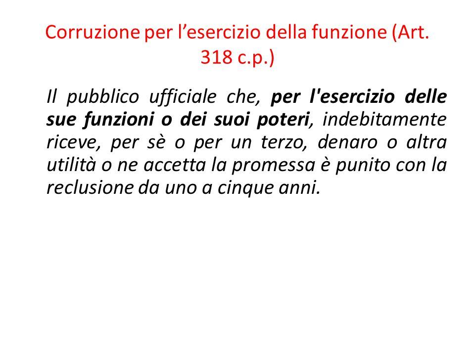 45 Corruzione per lesercizio della funzione (Art.318 c.p.).