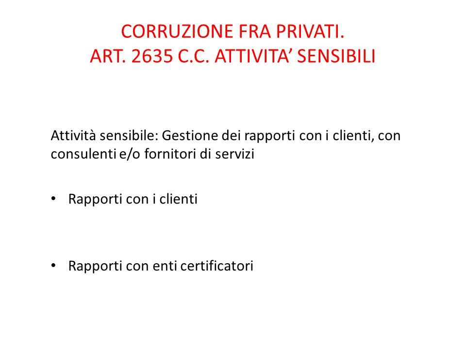 56 CORRUZIONE FRA PRIVATI.ART. 2635 C.C.
