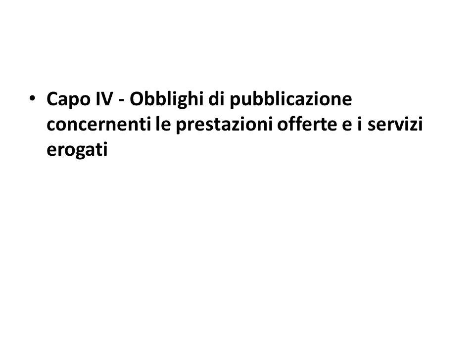 Obblighi di pubblicazione concernenti i servizi erogati art.