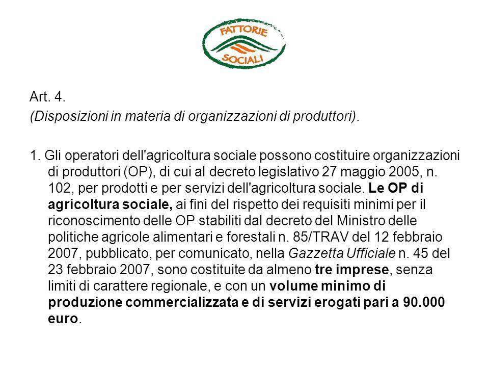 Art. 4. (Disposizioni in materia di organizzazioni di produttori). 1. Gli operatori dell'agricoltura sociale possono costituire organizzazioni di prod