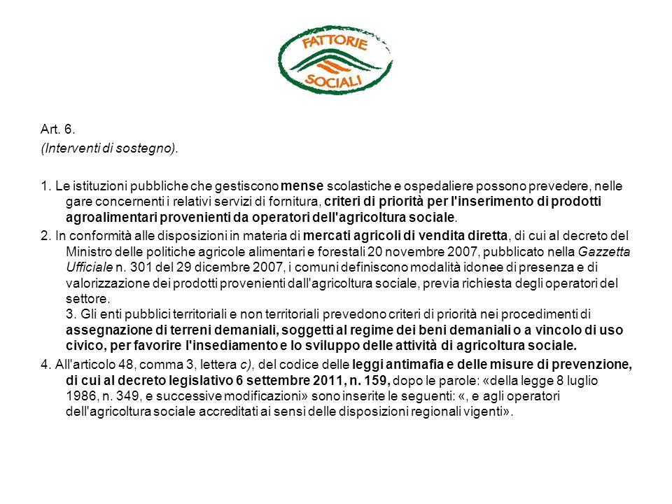 Art.7. (Istituzione dell Osservatorio sull agricoltura sociale).