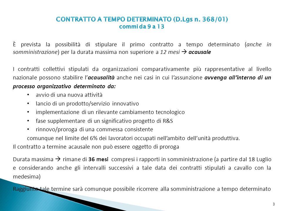 Prolungamento del contratto oltre la scadenza, per esigenze organizzative: da 20 a 30 gg contratto < 6 mesi da 30 a 50gg contratto > 6 mesi Il datore di lavoro deve comunicare il prolungamento oltre la scadenza del termine al centro per limpiego Intervallo di tempo tra un contratto e laltro: da 10 a 60 gg contratto < 6 mesi da 20 a 90 gg contratto > 6 mesi Tali termini possono essere ridotti per specifiche causali dai contratti collettivi stipulati ad ogni livello dalle organizzazioni sindacali comparativamente più rappresentative sul piano nazionale Limpugnazione del licenziamento per nullità del termine apposto deve avvenire: entro 120 gg dalla cessazione del contratto il deposito del ricorso dovrà avvenire entro i successivi 180 gg È previsto un generale incremento del costo dellistituto attraverso lintroduzione di un contributo addizionale pari all1,4% a carico del datore di lavoro, a partire dal 1° gennaio 2013, così come previsto allart.