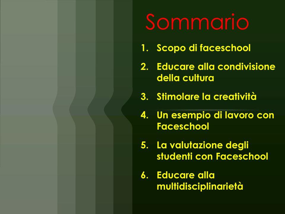 Sommario 1.Scopo di faceschool 2.Educare alla condivisione della cultura 3.Stimolare la creatività 4.Un esempio di lavoro con Faceschool 5.La valutazi