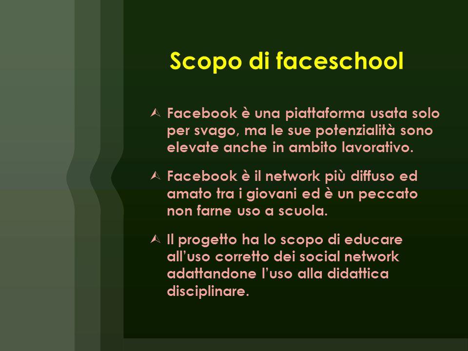 Scopo di faceschool Facebook è una piattaforma usata solo per svago, ma le sue potenzialità sono elevate anche in ambito lavorativo. Facebook è il net