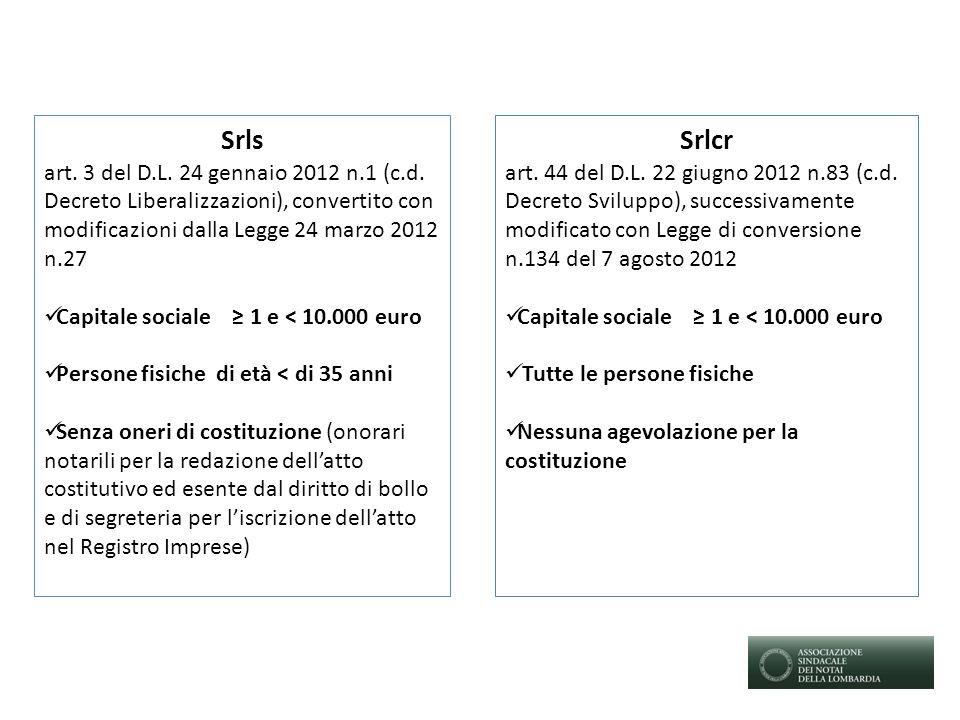 Srls art. 3 del D.L. 24 gennaio 2012 n.1 (c.d. Decreto Liberalizzazioni), convertito con modificazioni dalla Legge 24 marzo 2012 n.27 Capitale sociale