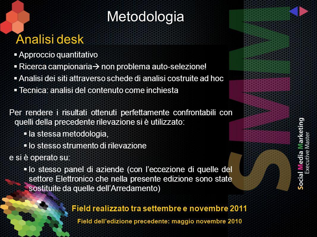 Analisi desk Metodologia Approccio quantitativo Approccio quantitativo Ricerca campionaria non problema auto-selezione.