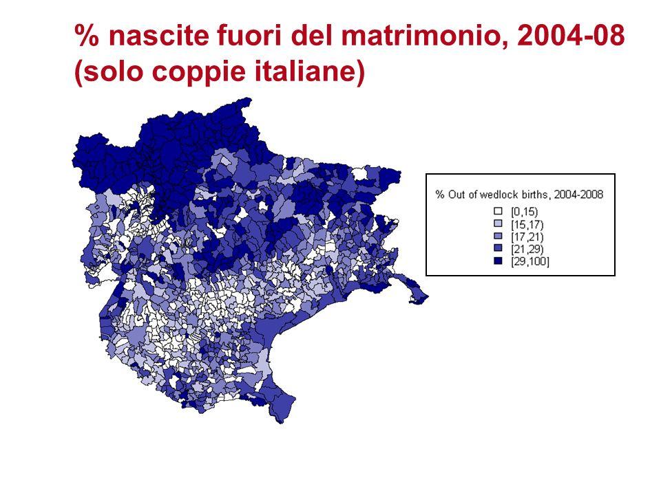 % nascite fuori del matrimonio, 2004-08 (solo coppie italiane)