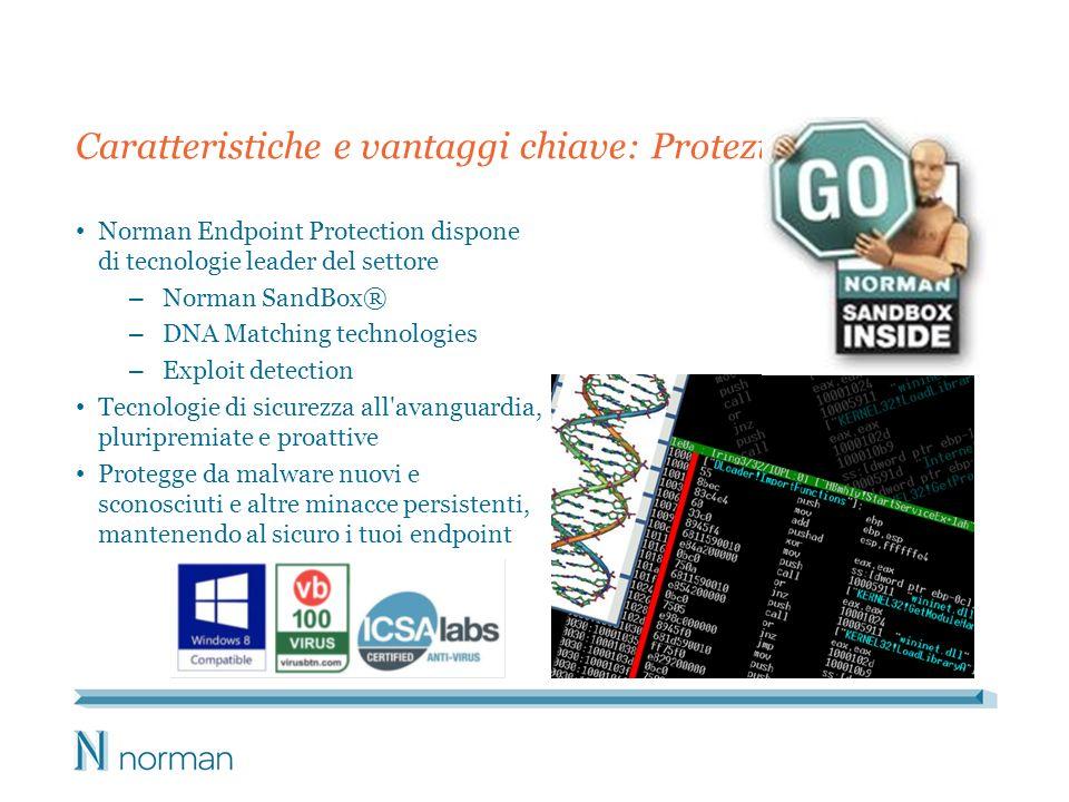 Caratteristiche e vantaggi chiave: Protezione Norman Endpoint Protection dispone di tecnologie leader del settore – Norman SandBox® – DNA Matching tec