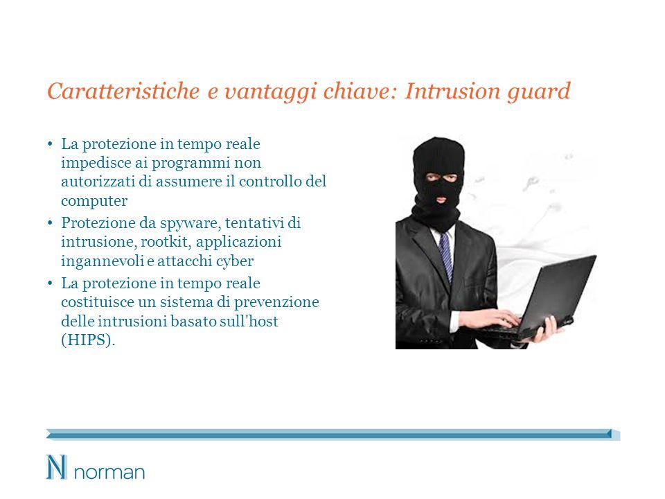 Caratteristiche e vantaggi chiave: Intrusion guard La protezione in tempo reale impedisce ai programmi non autorizzati di assumere il controllo del co