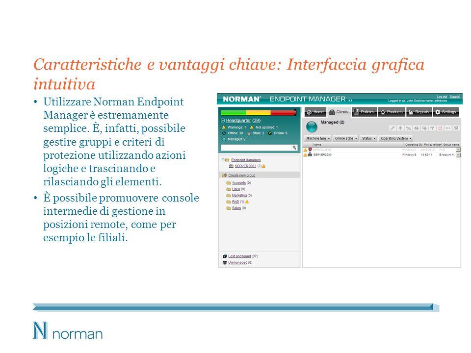 Caratteristiche e vantaggi chiave: Interfaccia grafica intuitiva Utilizzare Norman Endpoint Manager è estremamente semplice. È, infatti, possibile ges