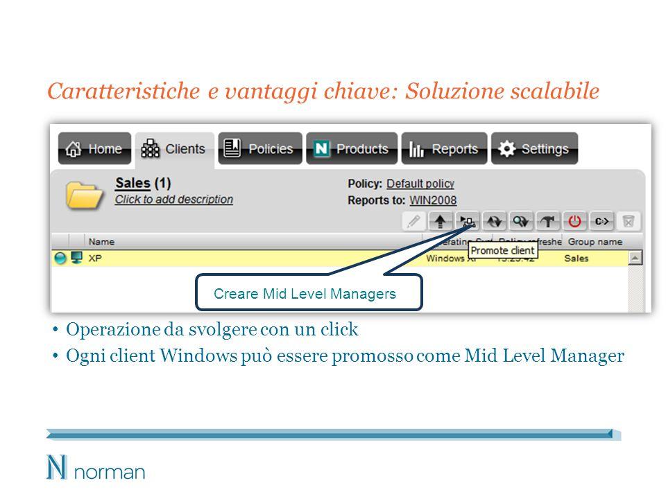 Caratteristiche e vantaggi chiave: Soluzione scalabile Operazione da svolgere con un click Ogni client Windows può essere promosso come Mid Level Mana