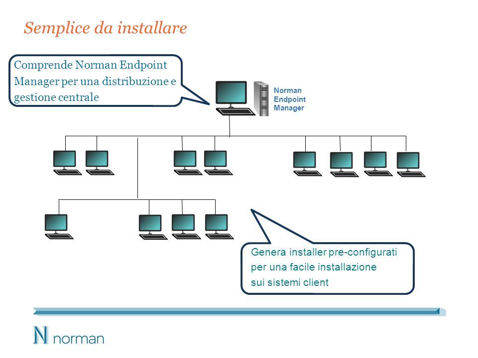 Semplice da installare Comprende Norman Endpoint Manager per una distribuzione e gestione centrale Genera installer pre-configurati per una facile installazione sui sistemi client Norman Endpoint Manager