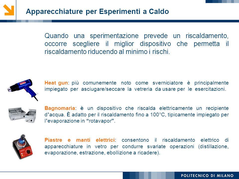Mirvana Lauria Apparecchiature per Esperimenti a Caldo Quando una sperimentazione prevede un riscaldamento, occorre scegliere il miglior dispositivo c