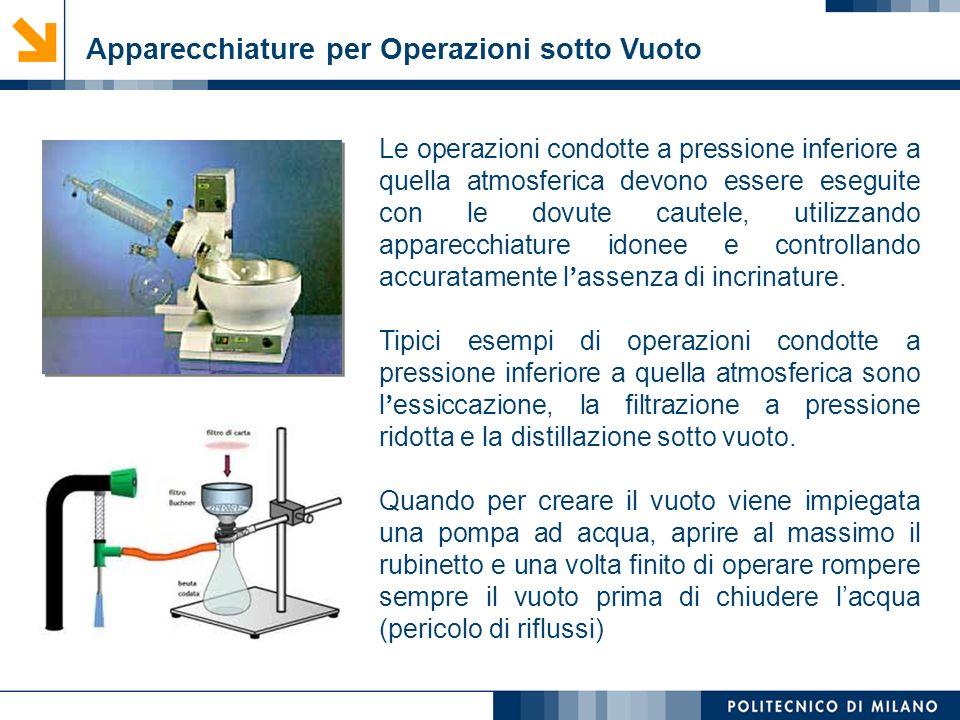 Mirvana Lauria Apparecchiature per Operazioni sotto Vuoto Le operazioni condotte a pressione inferiore a quella atmosferica devono essere eseguite con