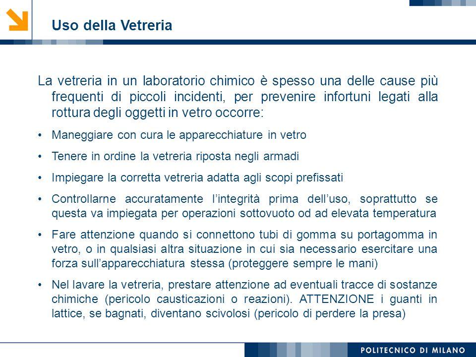 Mirvana Lauria Uso della Vetreria La vetreria in un laboratorio chimico è spesso una delle cause più frequenti di piccoli incidenti, per prevenire inf