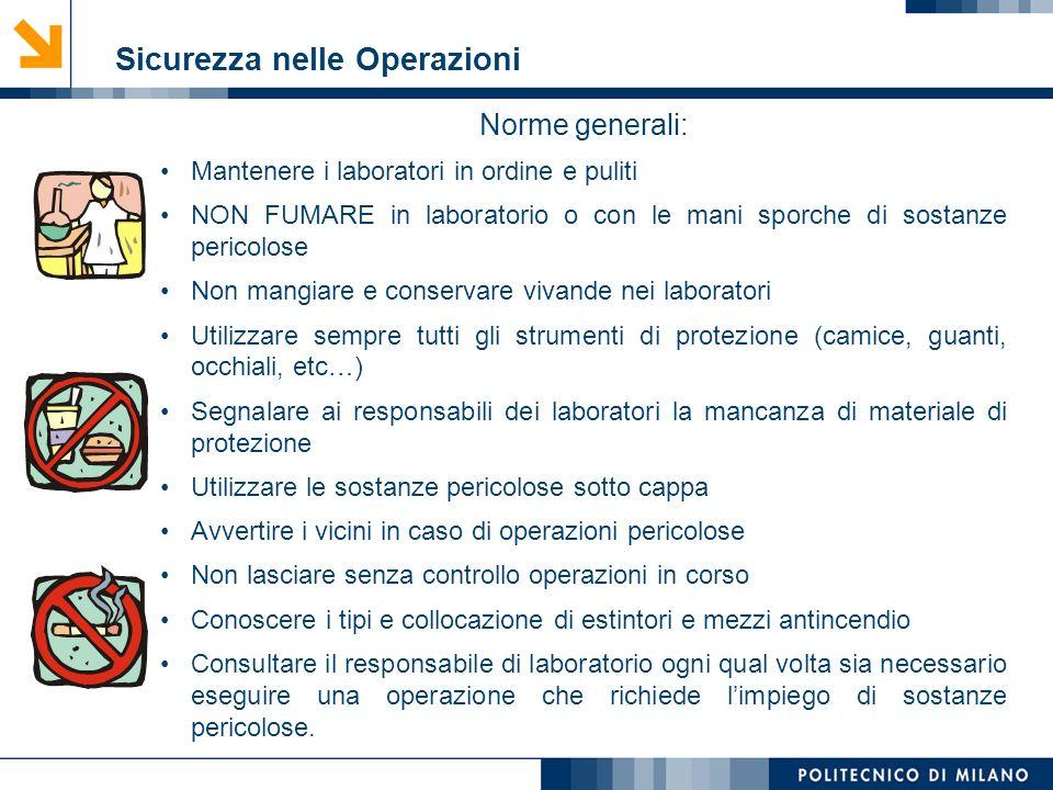 Mirvana Lauria Sicurezza nelle Operazioni Norme generali: Mantenere i laboratori in ordine e puliti NON FUMARE in laboratorio o con le mani sporche di
