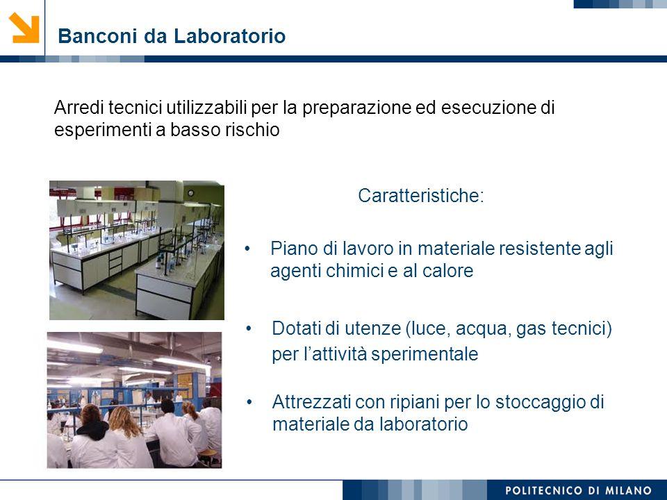 Mirvana Lauria Banconi da Laboratorio Arredi tecnici utilizzabili per la preparazione ed esecuzione di esperimenti a basso rischio Caratteristiche: Pi