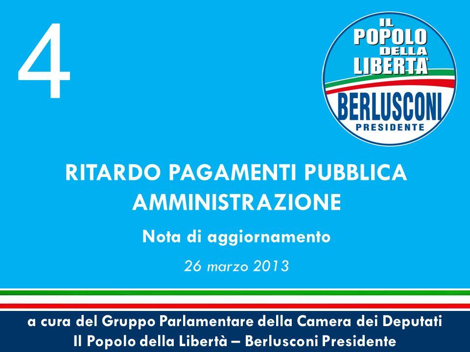 a cura del Gruppo Parlamentare della Camera dei Deputati Il Popolo della Libertà – Berlusconi Presidente RITARDO PAGAMENTI PUBBLICA AMMINISTRAZIONE Nota di aggiornamento 26 marzo 2013 4