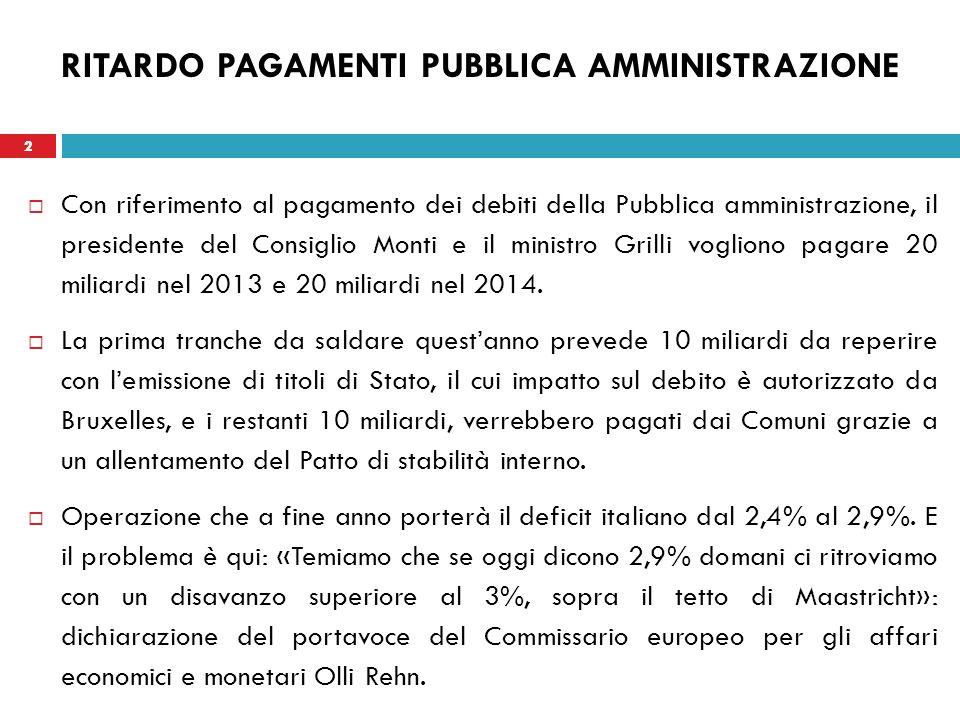 2 RITARDO PAGAMENTI PUBBLICA AMMINISTRAZIONE Con riferimento al pagamento dei debiti della Pubblica amministrazione, il presidente del Consiglio Monti e il ministro Grilli vogliono pagare 20 miliardi nel 2013 e 20 miliardi nel 2014.