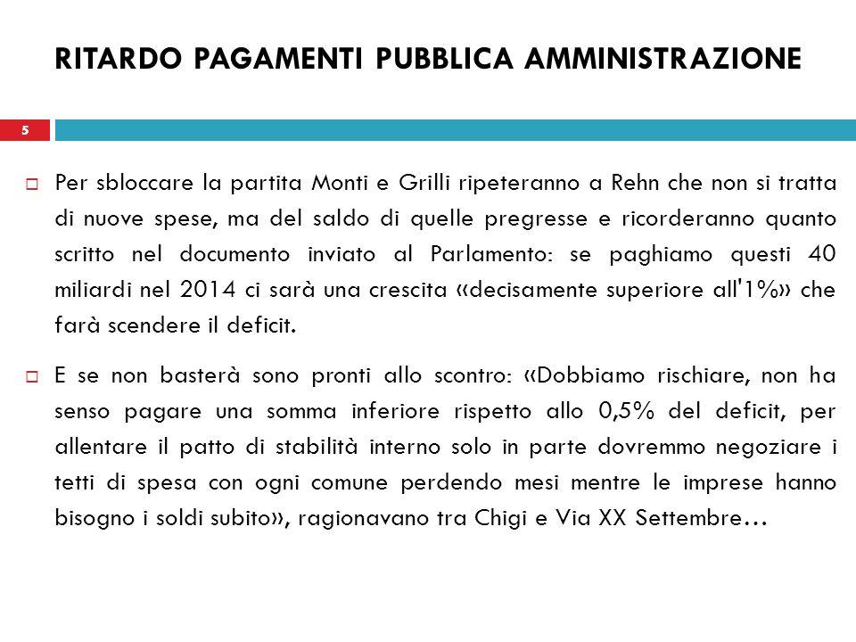 5 RITARDO PAGAMENTI PUBBLICA AMMINISTRAZIONE Per sbloccare la partita Monti e Grilli ripeteranno a Rehn che non si tratta di nuove spese, ma del saldo di quelle pregresse e ricorderanno quanto scritto nel documento inviato al Parlamento: se paghiamo questi 40 miliardi nel 2014 ci sarà una crescita «decisamente superiore all 1%» che farà scendere il deficit.