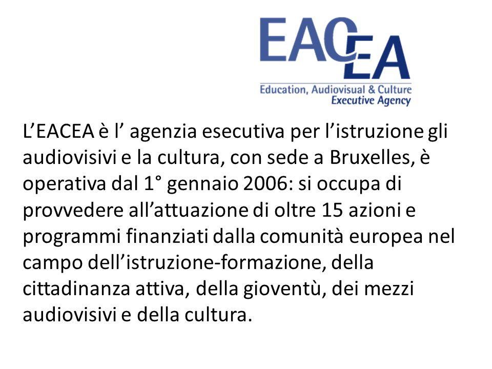 LEACEA è l agenzia esecutiva per listruzione gli audiovisivi e la cultura, con sede a Bruxelles, è operativa dal 1° gennaio 2006: si occupa di provved