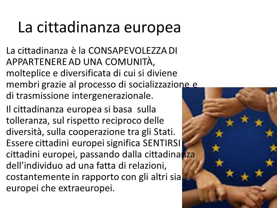 La cittadinanza europea La cittadinanza è la CONSAPEVOLEZZA DI APPARTENERE AD UNA COMUNITÀ, molteplice e diversificata di cui si diviene membri grazie