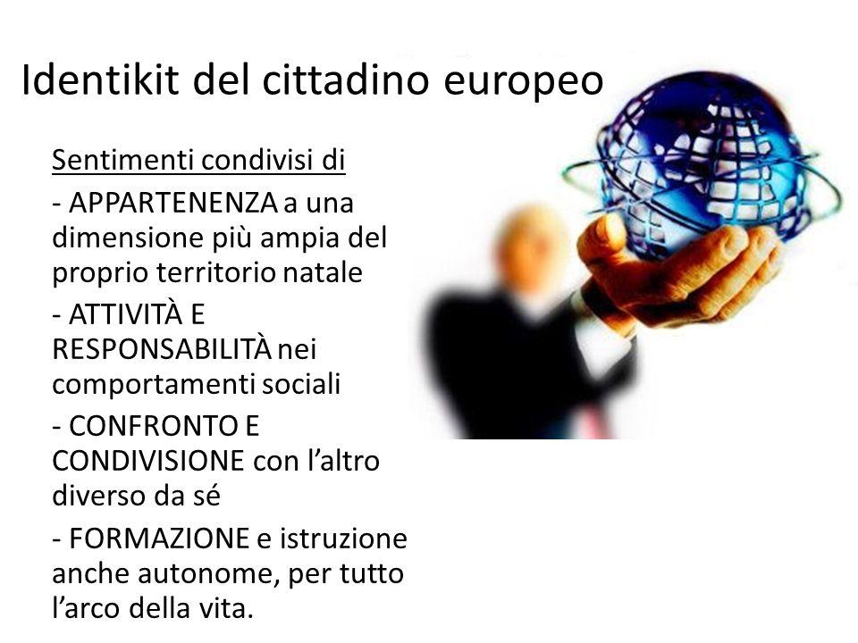 Identikit del cittadino europeo Sentimenti condivisi di - APPARTENENZA a una dimensione più ampia del proprio territorio natale - ATTIVITÀ E RESPONSAB