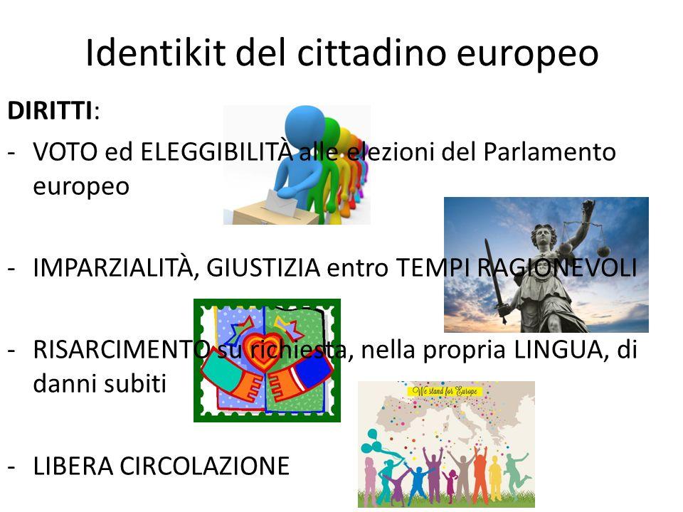 Identikit del cittadino europeo DIRITTI: -VOTO ed ELEGGIBILITÀ alle elezioni del Parlamento europeo -IMPARZIALITÀ, GIUSTIZIA entro TEMPI RAGIONEVOLI -
