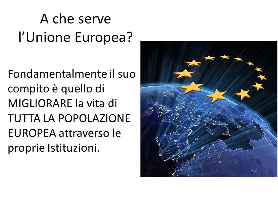 A che serve lUnione Europea? Fondamentalmente il suo compito è quello di MIGLIORARE la vita di TUTTA LA POPOLAZIONE EUROPEA attraverso le proprie Isti
