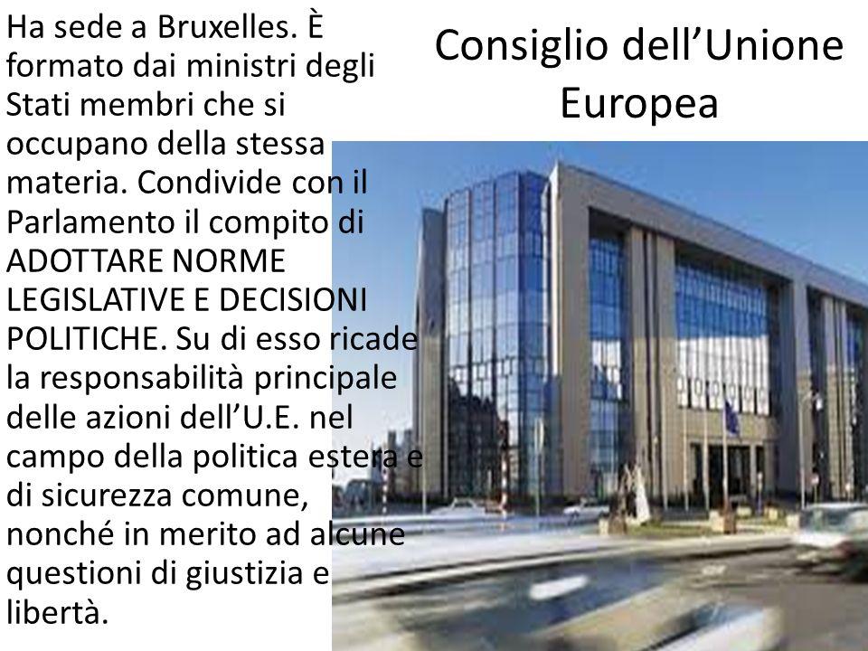 Consiglio dellUnione Europea Ha sede a Bruxelles. È formato dai ministri degli Stati membri che si occupano della stessa materia. Condivide con il Par