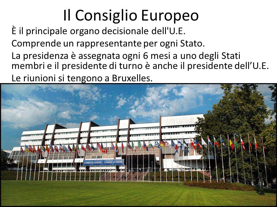 Il Consiglio Europeo È il principale organo decisionale dell'U.E. Comprende un rappresentante per ogni Stato. La presidenza è assegnata ogni 6 mesi a
