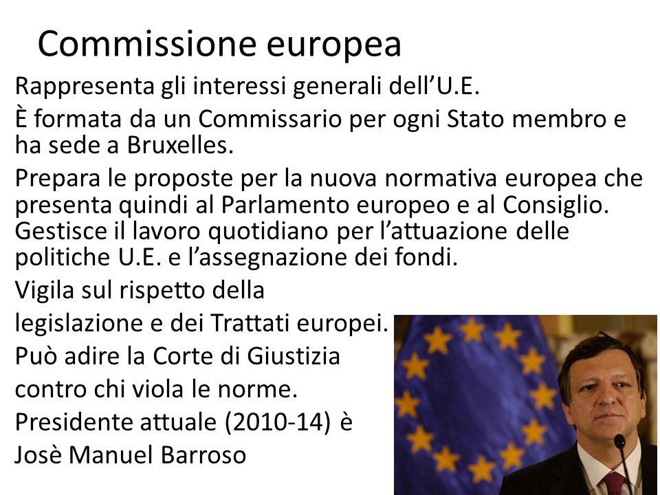Commissione europea Rappresenta gli interessi generali dellU.E. È formata da un Commissario per ogni Stato membro e ha sede a Bruxelles. Prepara le pr