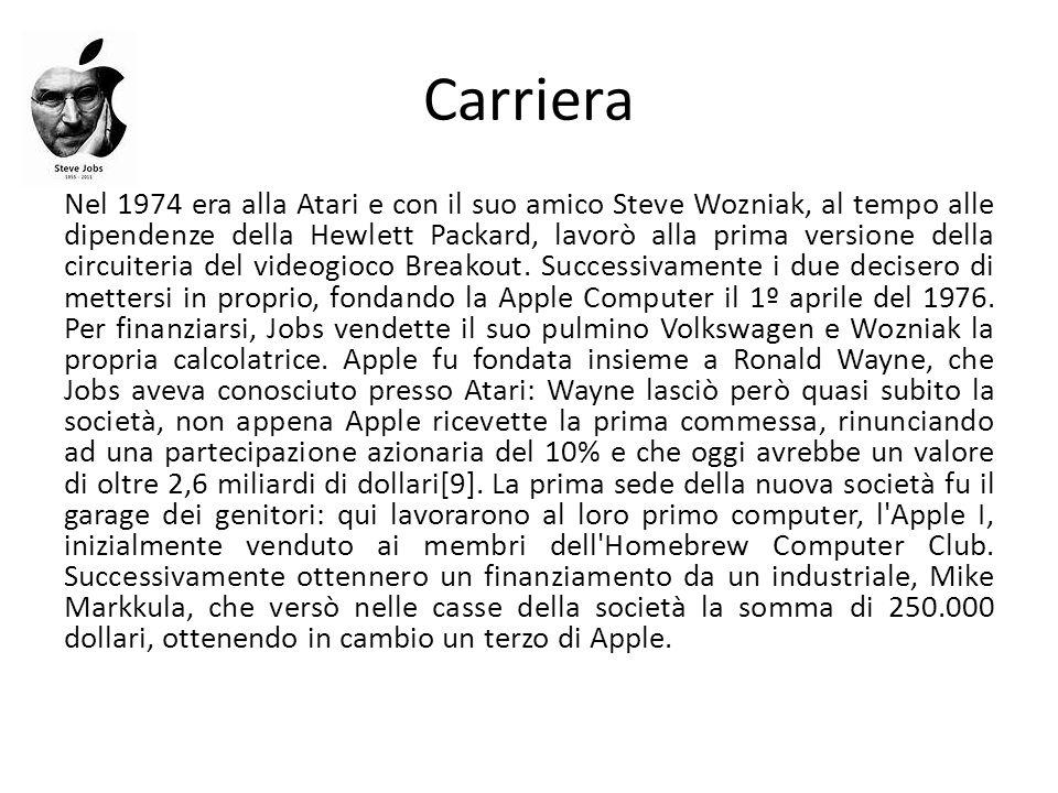 Nel 1977 Jobs e Wozniak lanciarono l Apple II.Le vendite toccarono il milione di dollari.