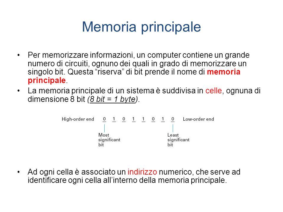 Memoria principale Per memorizzare informazioni, un computer contiene un grande numero di circuiti, ognuno dei quali in grado di memorizzare un singolo bit.