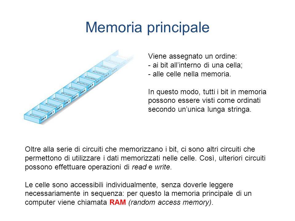 Memoria principale Viene assegnato un ordine: - ai bit allinterno di una cella; - alle celle nella memoria.