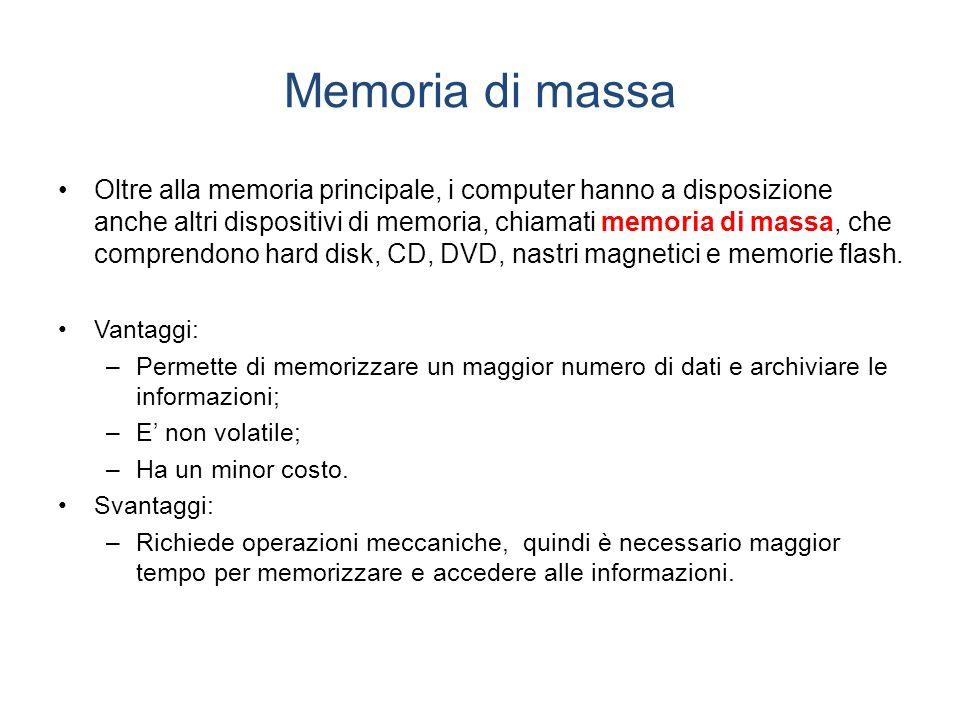 Memoria di massa Oltre alla memoria principale, i computer hanno a disposizione anche altri dispositivi di memoria, chiamati memoria di massa, che comprendono hard disk, CD, DVD, nastri magnetici e memorie flash.