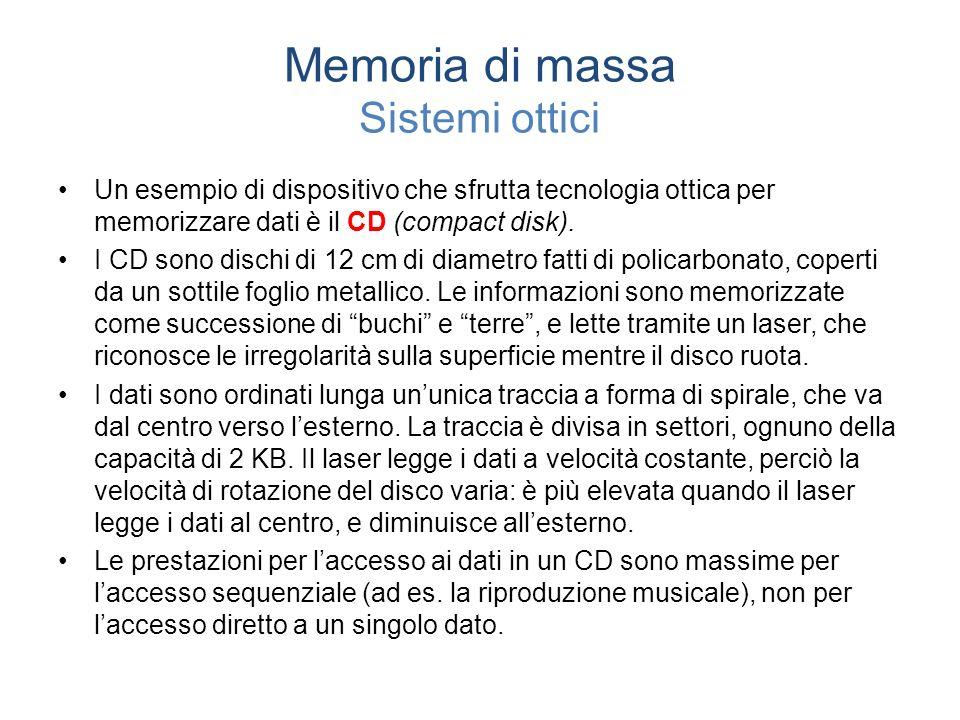 Memoria di massa Sistemi ottici Un esempio di dispositivo che sfrutta tecnologia ottica per memorizzare dati è il CD (compact disk).