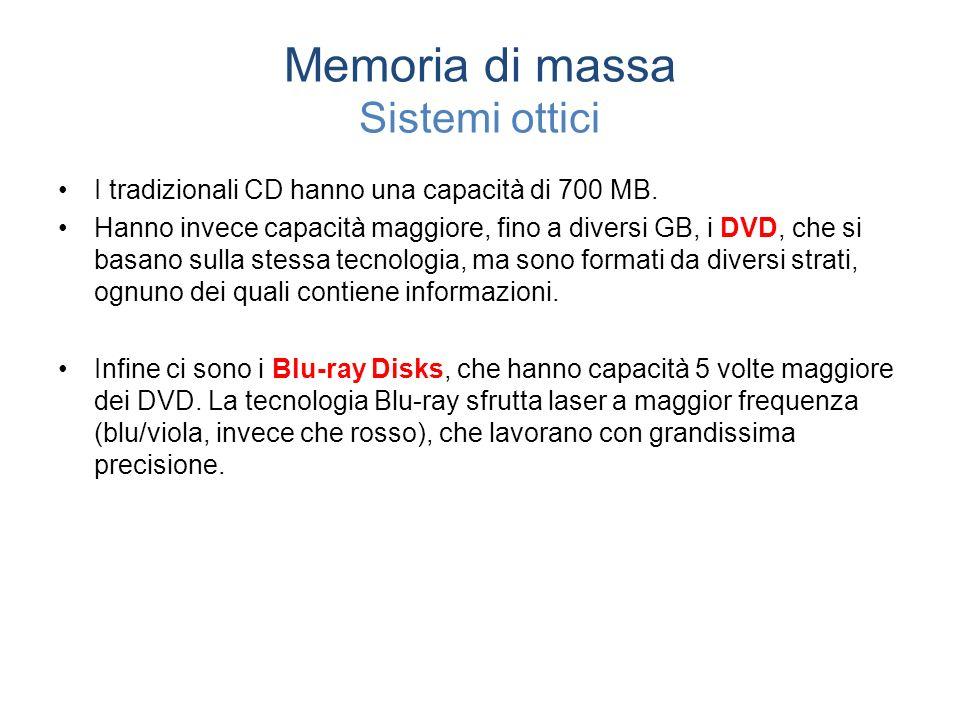 Memoria di massa Sistemi ottici I tradizionali CD hanno una capacità di 700 MB.