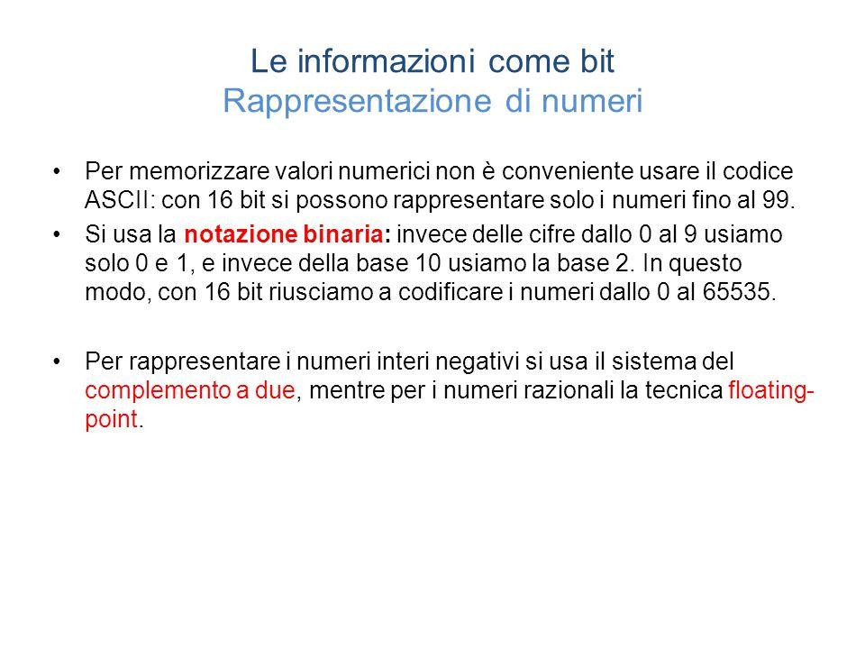 Le informazioni come bit Rappresentazione di numeri Per memorizzare valori numerici non è conveniente usare il codice ASCII: con 16 bit si possono rappresentare solo i numeri fino al 99.