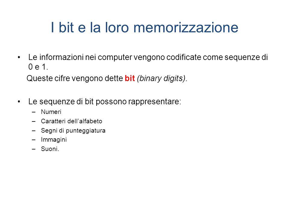I bit e la loro memorizzazione Le informazioni nei computer vengono codificate come sequenze di 0 e 1.