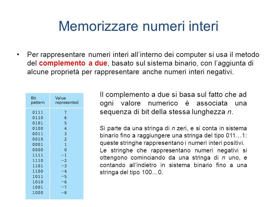 Memorizzare numeri interi Per rappresentare numeri interi allinterno dei computer si usa il metodo del complemento a due, basato sul sistema binario, con laggiunta di alcune proprietà per rappresentare anche numeri interi negativi.