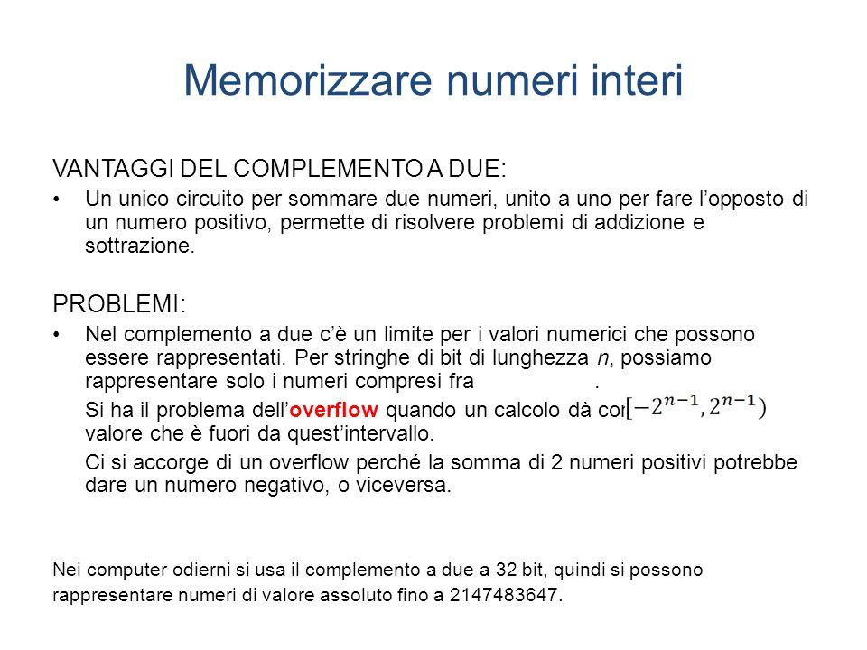 Memorizzare numeri interi VANTAGGI DEL COMPLEMENTO A DUE: Un unico circuito per sommare due numeri, unito a uno per fare lopposto di un numero positivo, permette di risolvere problemi di addizione e sottrazione.