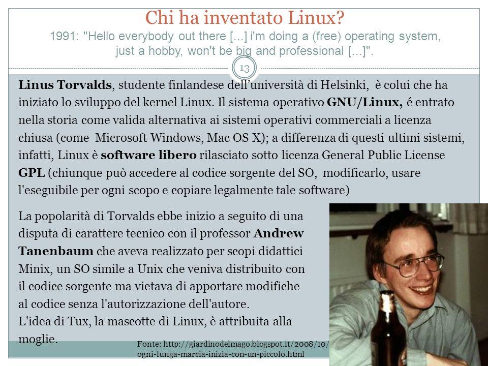Chi ha inventato Linux? 1991: